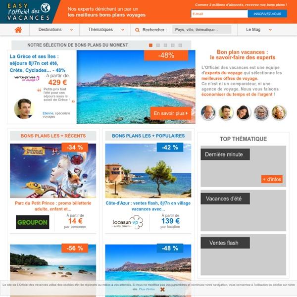Bon plan vacances (sejour, voyage, hotel, week end) avec l'Officiel des vacances