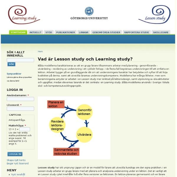 Vad är Lesson study och Learning study?