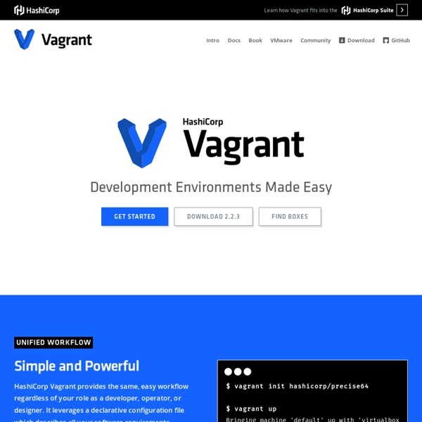 Vagrant - Virtualized development for the masses.