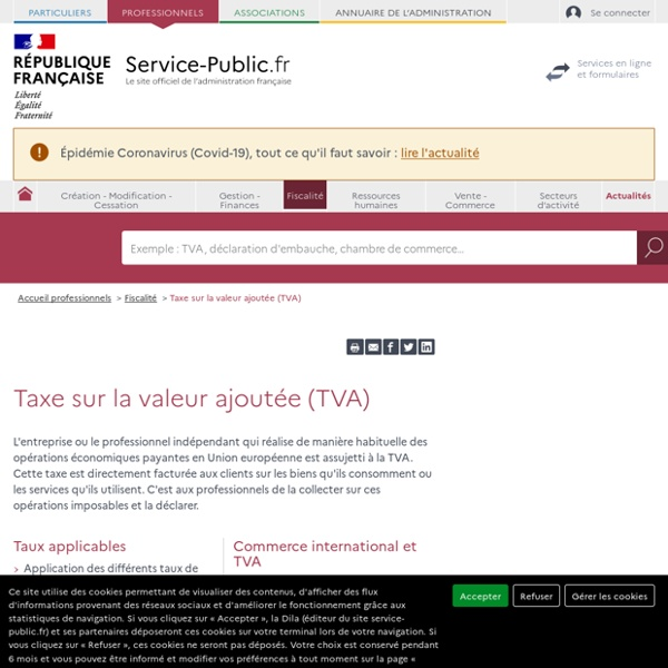 Taxe sur la valeur ajoutée (TVA) - professionnels