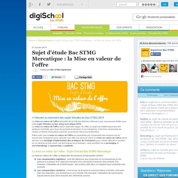 La Mise en Valeur de l'Offre - Sujet d'étude Bac STG Mercatique 2013