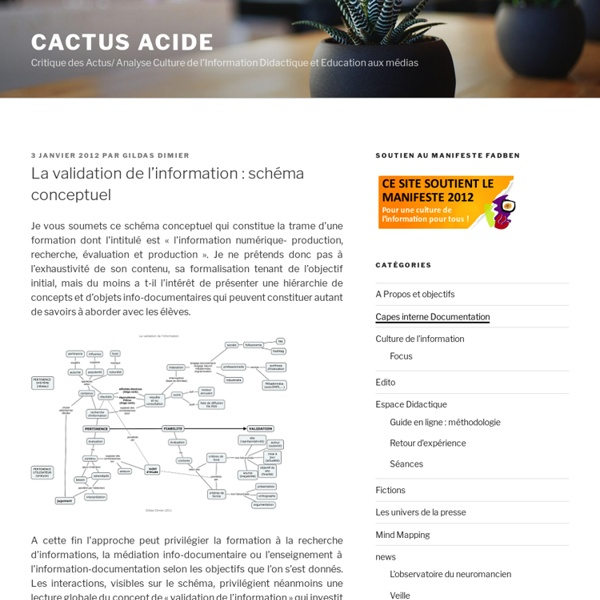 La validation de l'information : carte conceptuelle