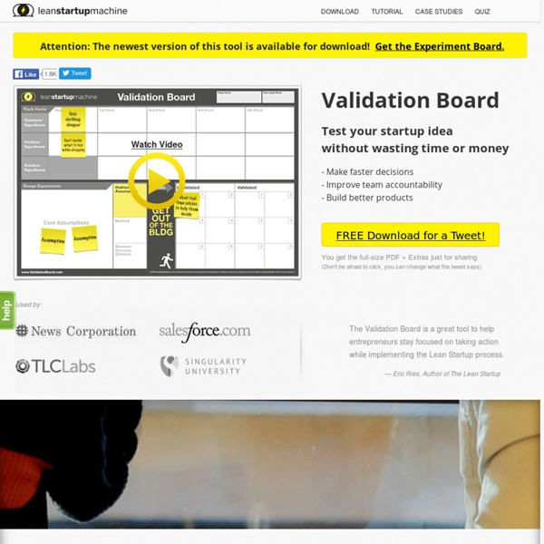 Validation Board - FREE tool for testing your startup idea, stop wasting time and money
