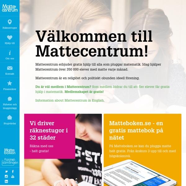 Välkommen till Mattecentrum – Mattecentrum, gratis läxhjälp i matematik för alla