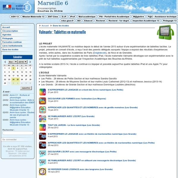 Circonscription de Marseille 06 - Valmante : Tablettes en maternelle