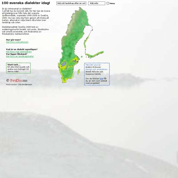 Våra svenska dialekter - SweDia 2000