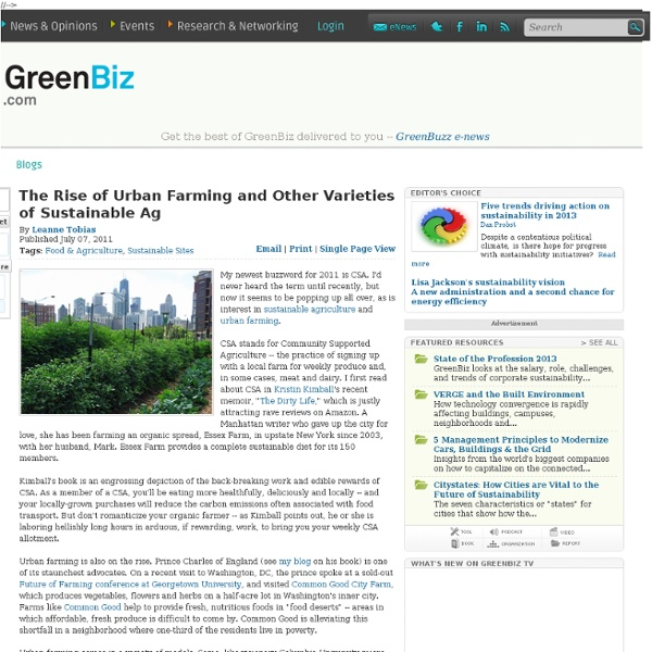 The Rise of Urban Farming and Other Varieties of Sustainable Ag