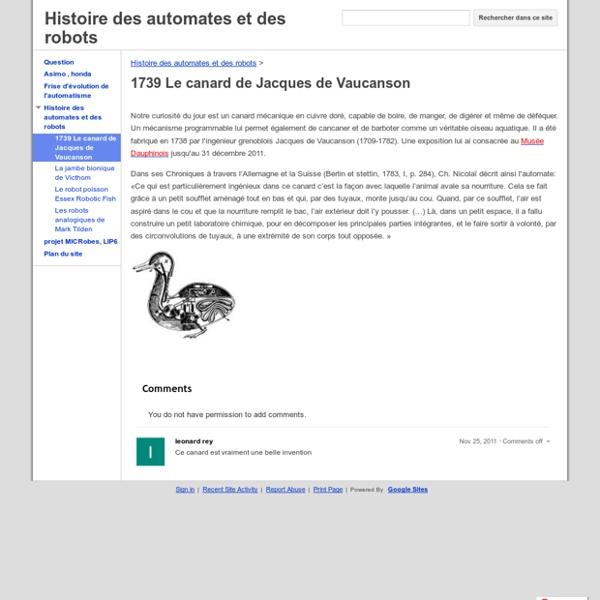1739 Le canard de Jacques de Vaucanson - Histoire des automates et des robots