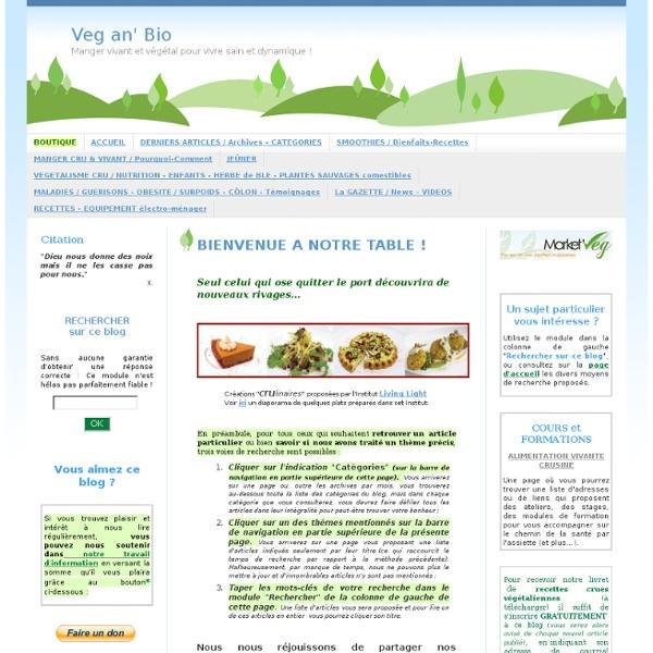 Veg an' Bio Manger vivant et végétal pour vivre sain et dynamique !