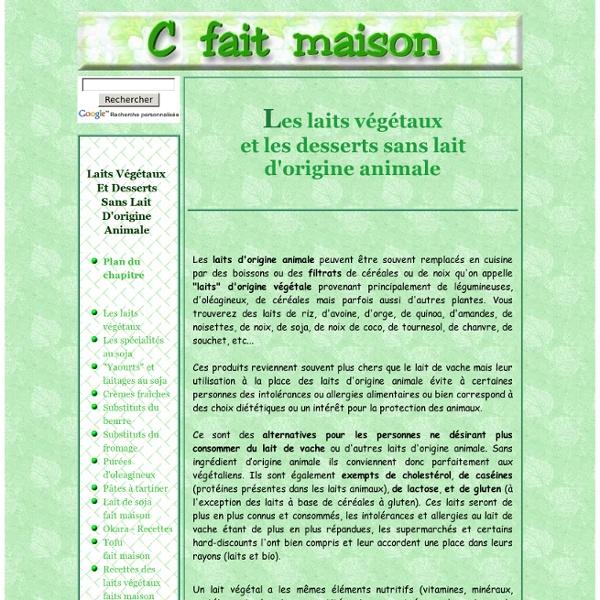 """Les """"laits végétaux"""" et les desserts sans lait d'origine animale - Introduction."""