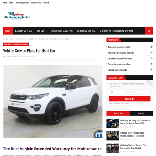Vehicle Service Plans For Used Car