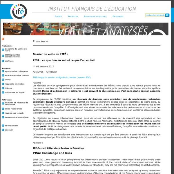 Veille et Analyses de l'ifé