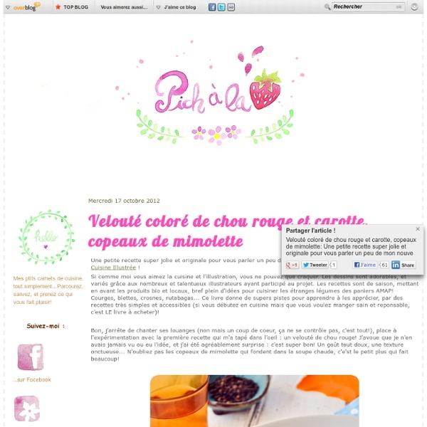 Velouté coloré de chou rouge et carotte, copeaux de mimolette