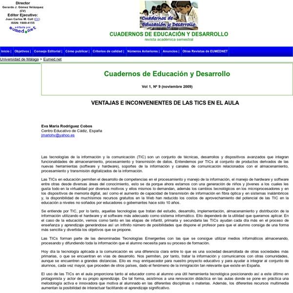 VENTAJAS E INCONVENIENTES DE LAS TICS EN EL AULA