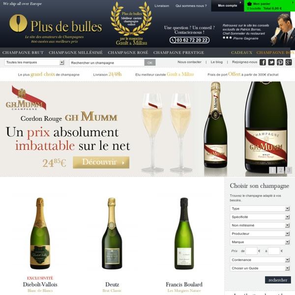 Vente champagne - Achat en ligne de Champagne I Plus de Bulles