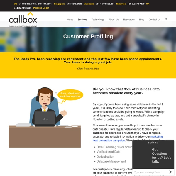 Data Cleansing and Verification - callbox.com.sg - B2B Lead Generation and Appointment Setting