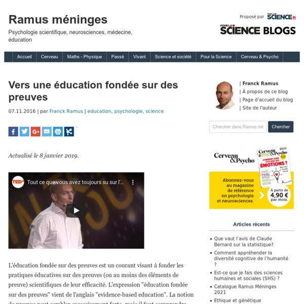 Vers une éducation fondée sur des preuves - Ramus méningesRamus méninges