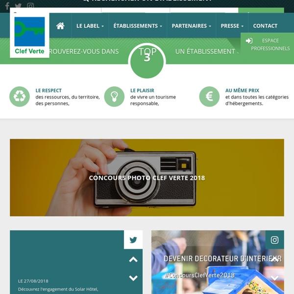 La Clef Verte - Premier label environnemental international pour l'hébergement touristique écologique.