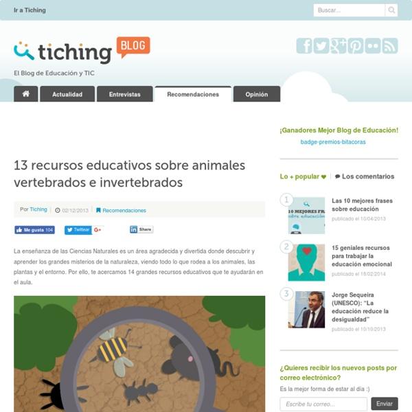Recursos educativos sobre animales vertebrados e invertebrados
