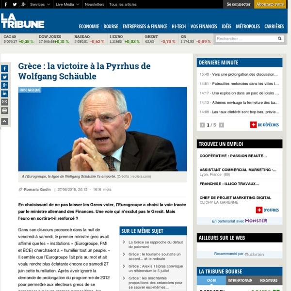 Grèce : la victoire à la Pyrrhus de Wolfgang Schäuble