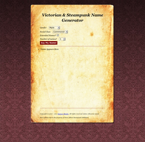Victorian & Steampunk Name Generator | Pearltrees