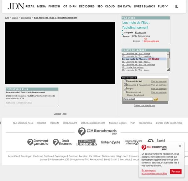 """La vidéo """"Les mots de l'Eco : l'autofinancement"""" sur le Journal du Net"""
