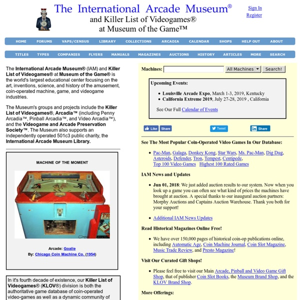 Coin-Operated Video Arcade Machines - The Killer List of Videogames (KLOV)