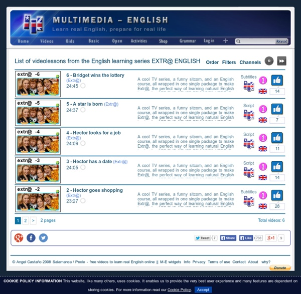 List of videolessons from the English learning series EXTR@ ENGLISH - in Mult...
