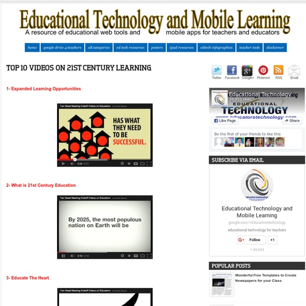 Educational Technology and Mobile Learning: Top 10 Videos on 21st Century Learning