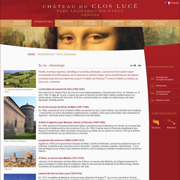Sa vie : chronologie - Léonard de Vinci - Château du Clos Lucé