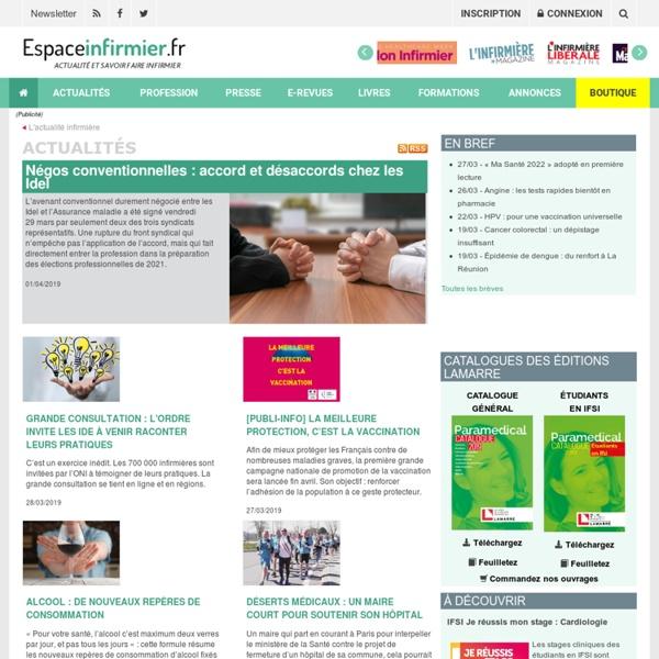 Espaceinfirmier.com, le site de référence sur l'actualité et le savoir-faire infirmier