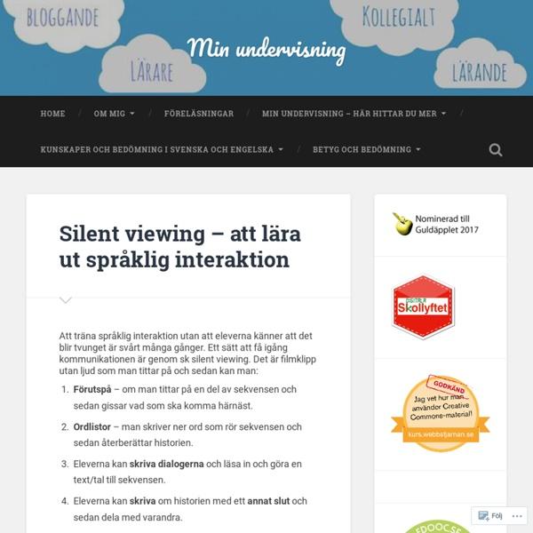 Silent viewing – att lära ut språklig interaktion