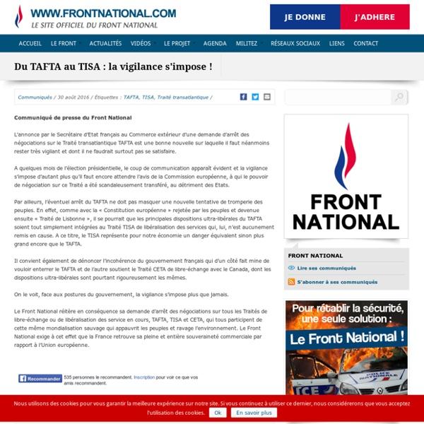 Du TAFTA au TISA : la vigilance s'impose !