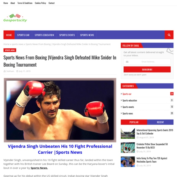 Vijendra Singh Defeated Mike Snider In Boxing Tournament