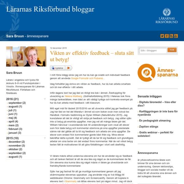 Vikten av effektiv feedback - sluta sätt ut betyg! - Sara Bruun