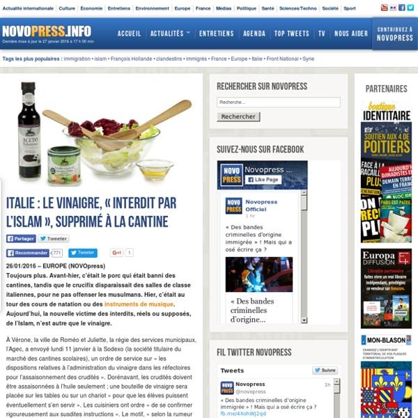 Italie : Le vinaigre, « interdit par l'Islam », supprimé à la cantine