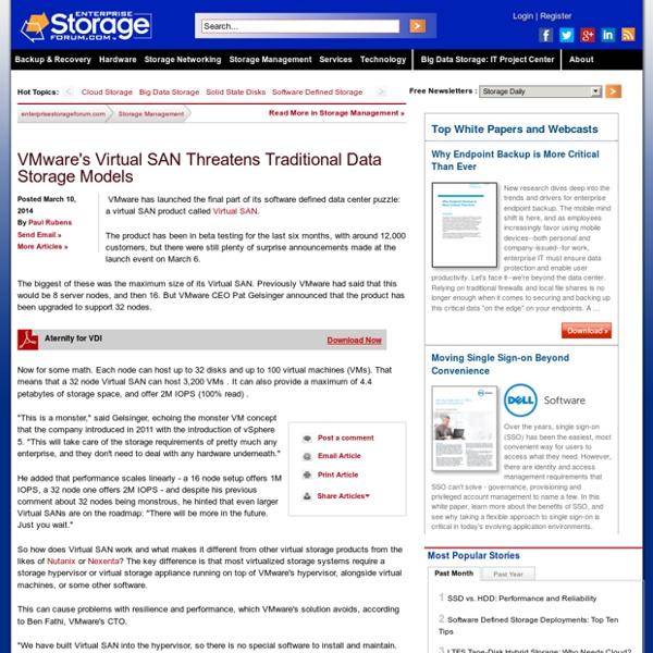 VMware's Virtual SAN Threatens Traditional Data Storage Models