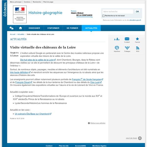 Visite virtuelle des châteaux de la Loire-Histoire-géographie-Éduscol