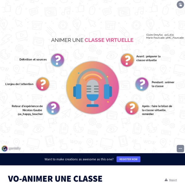 VO-ANIMER UNE CLASSE VIRTUELLE by mcf.histgeo on Genial.ly