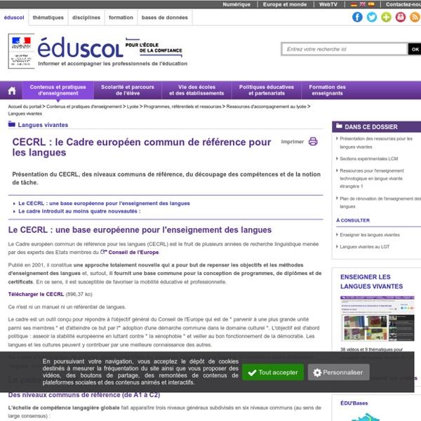 Langues vivantes - Cadre européen commun de référence (CECRL)