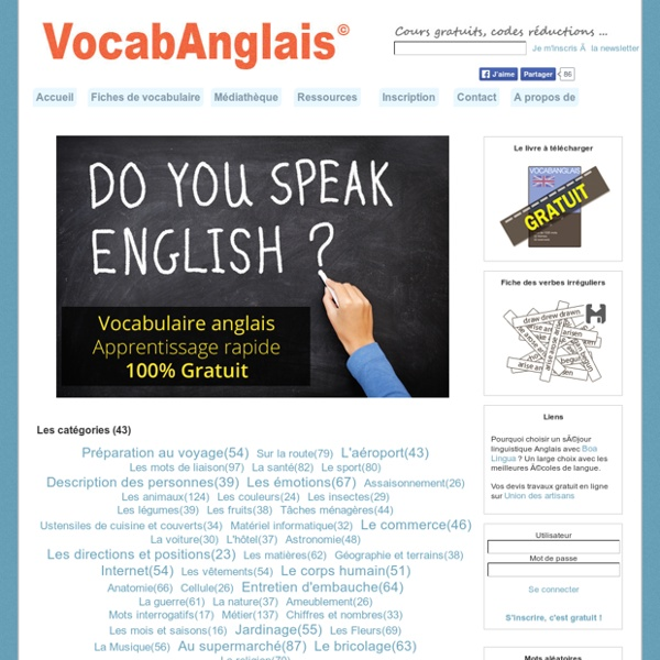 VocabAnglais - Apprentissage du vocabulaire anglais