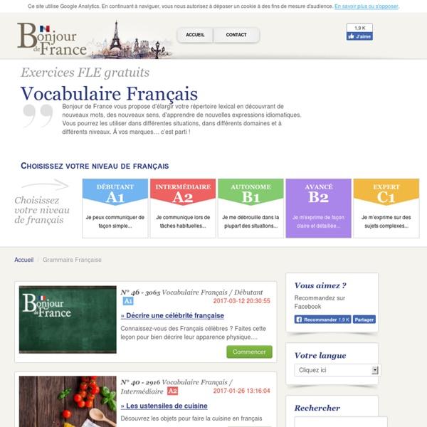 Vocabulaire français : cours et exercices gratuits en ligne