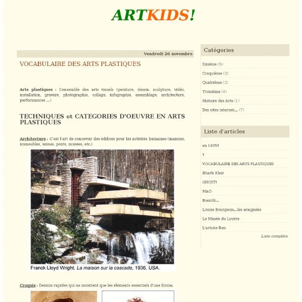 VOCABULAIRE DES ARTS PLASTIQUES - ARTKIDS