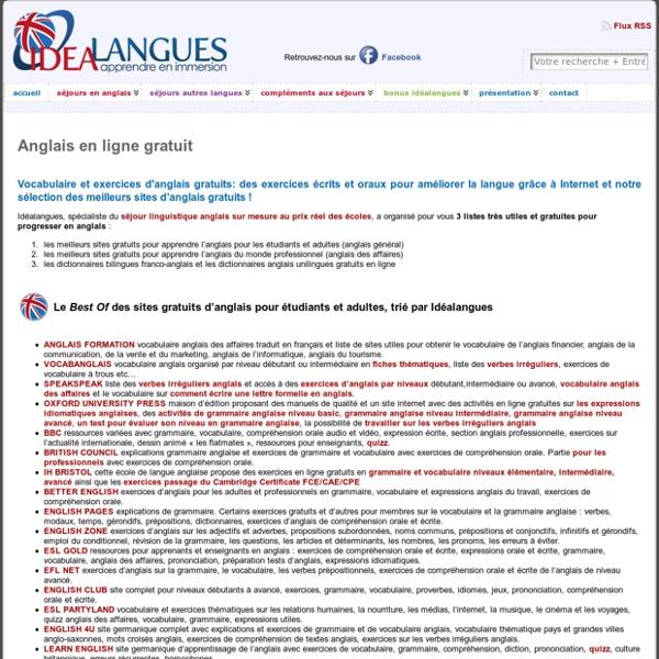 Vocabulaire et exercices d'anglais gratuits: anglais en ligne gratuit pour étudiants, adultes et professionnels « Idéalangues