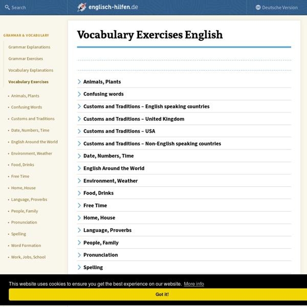 Vocabulary Exercises English