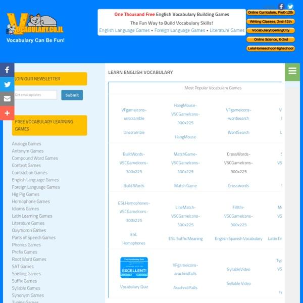 Vocabulary Games, English Vocabulary Word Games