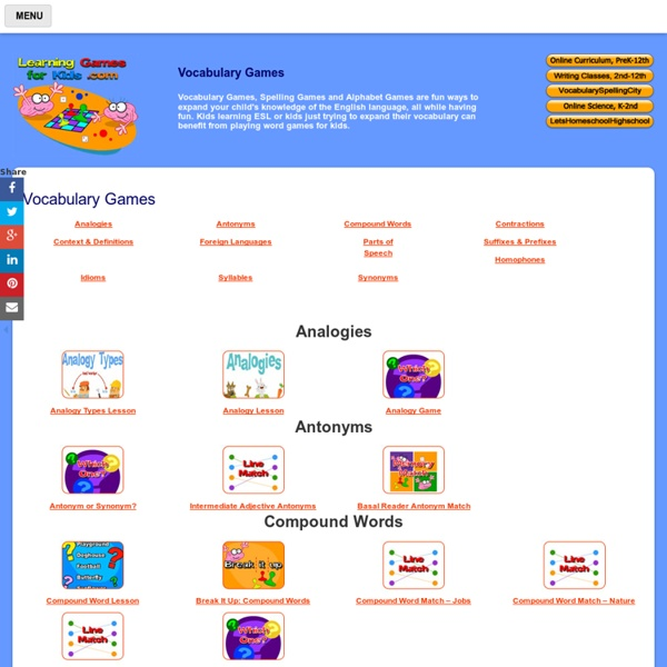 Vocabulary Learning Games For Kids