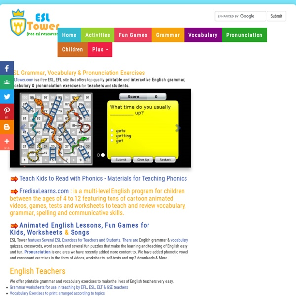 English Grammar, Vocabulary, Pronunciation Exercises for ESL Teachers and Students