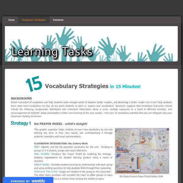 Vocabulary Strategies - Learning Tasks