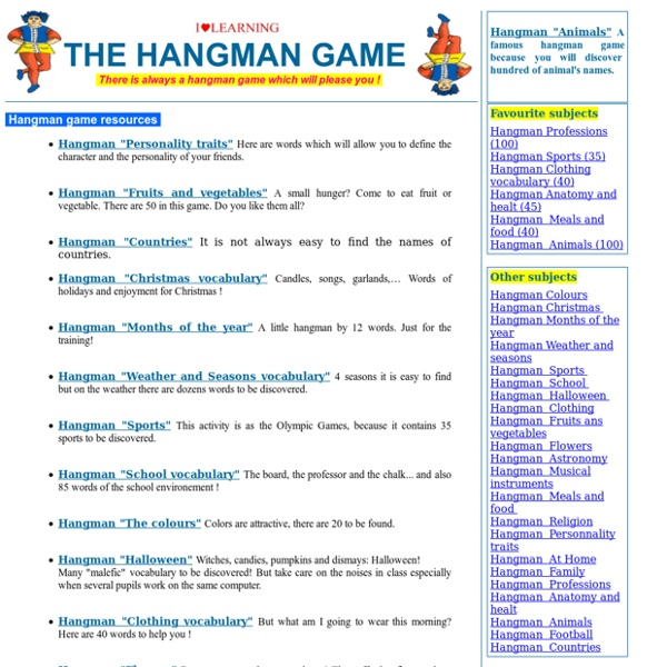 Hangman games for vocabulary study - Thematic exercises of vocabulary and spelling